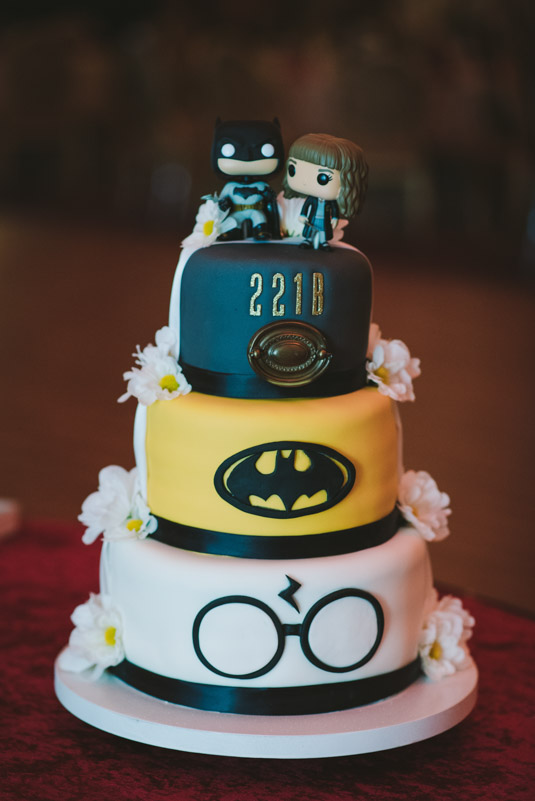 Batman, Sherlock, and Harry Potter Wedding Cake