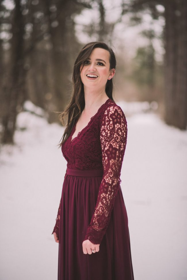 Romantic winter engagement photos
